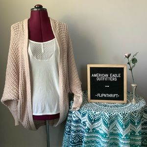 🆕LISTING 🦅AEO Pink Crochet Oversized Cardigan